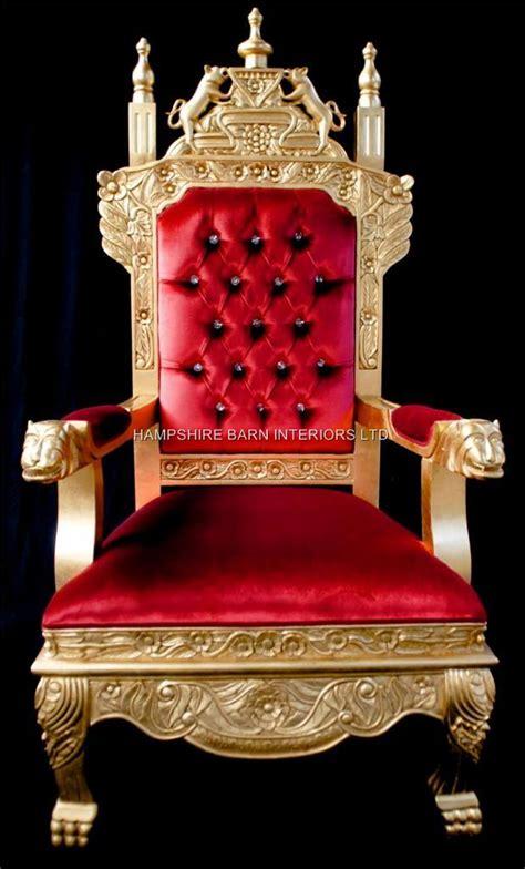 tudor royal throne chair gold  red velvet hampshire