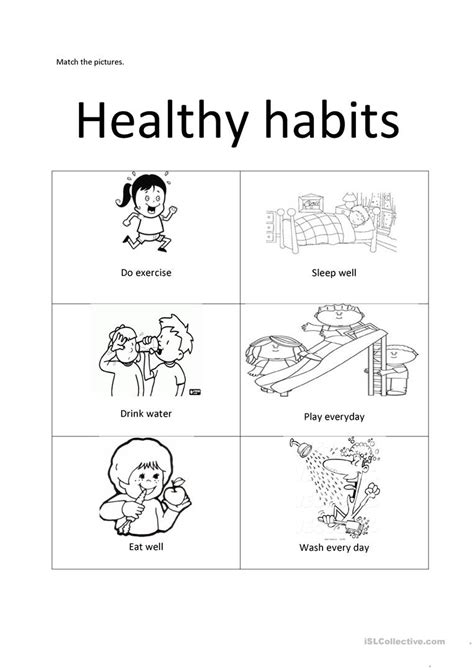healthy habits worksheets for grade 1 healthy habits esl worksheets