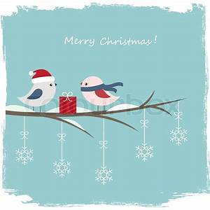 Winter Card With Cute Birds And Gift Box Stock Vector
