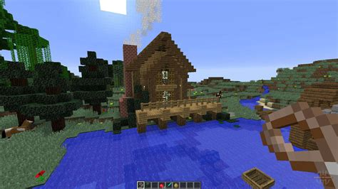 bee builds house   lake  minecraft