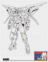 Gundam Exia Dark Matter Guy Coloring Build Line Lineart Fighters Fan sketch template