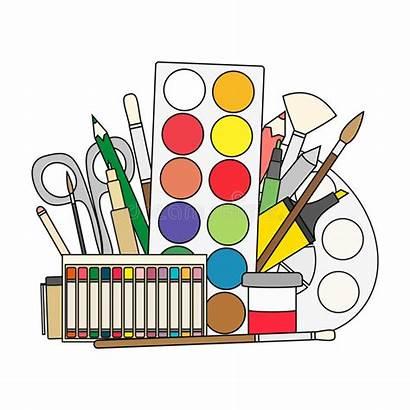 Supplies Paint Cartoon Brushes Vector Illustration Pencils