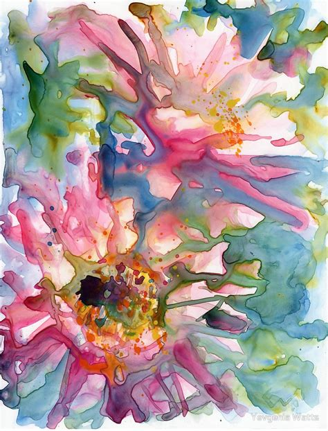 cactus flowers watercolor  yupo  yevgenia watts