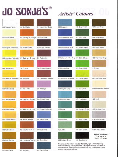 jo sonja color chart art instruction paint color chart