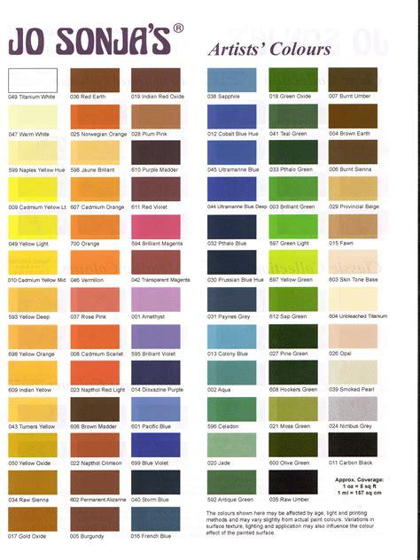 jo sonja paint color chart jo sonja color chart kv woodcarving supplieskv