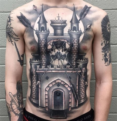 castle skull  tattoo design ideas