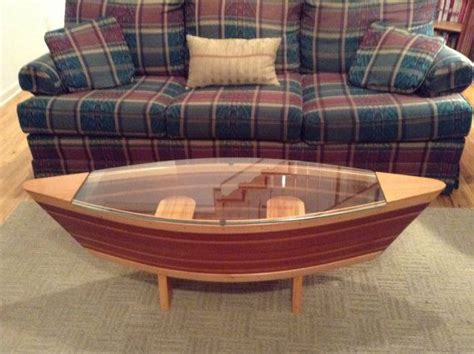 handmade canoe shaped glass top boat shelf