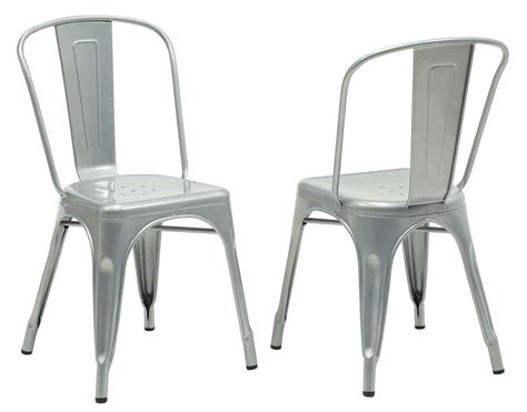 2412 silver galvanized metal side chair set of 2 from