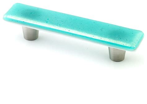 Iridescent Glass Knobs And Pulls, Turquoise, 1