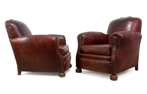 leather club chair for pair of leather club chairs c1940 74017 8933