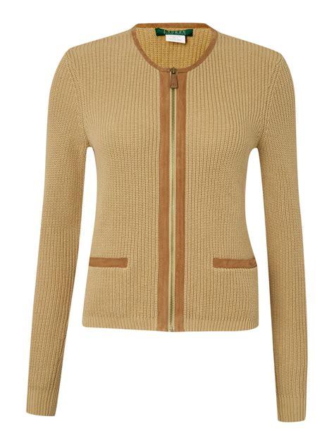 zip front sweater by ralph khaki fruanna sleeve zip