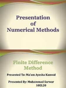 Finite Difference Method 10el20 Ppt