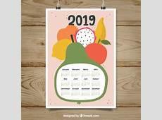 Bonito calendario 2019 con frutas Descargar Vectores gratis