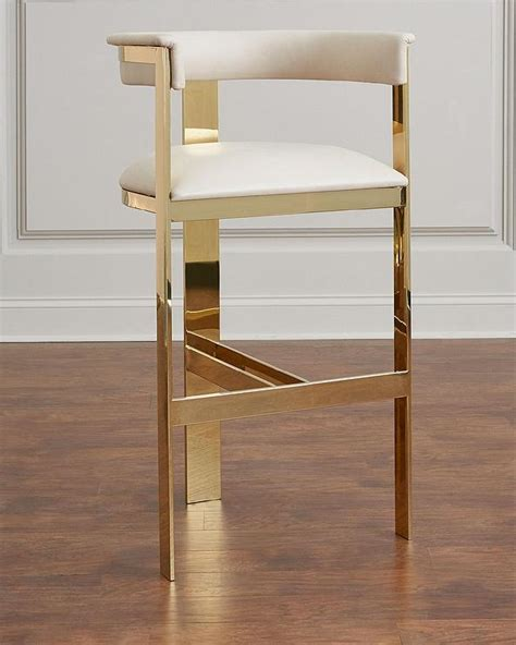 manhattan white gold bar stool