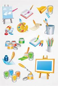 Painter Tools Vector Icons: Paint Brush & Painting Canvas ...