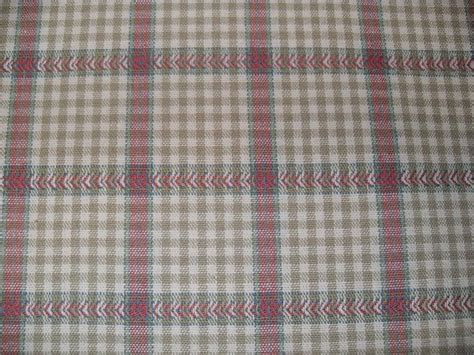 plaid drapery fabric taupe raspberry woven small check plaid drapery