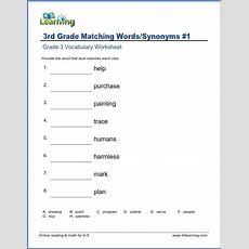 Grade 3 Vocabulary Worksheet  Synonyms  K5 Learning