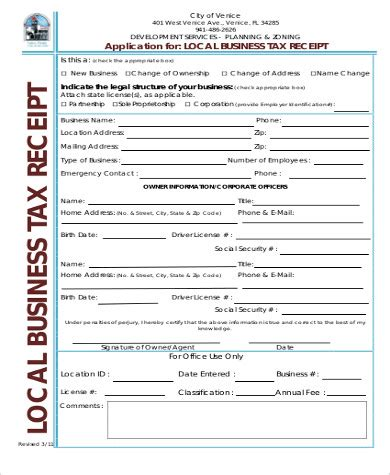 sample business tax receipt  examples  word