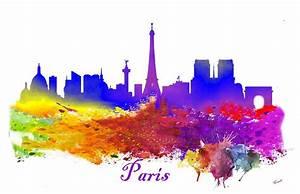 Paris France Silhouette Eiffel Tower Water Color Splash