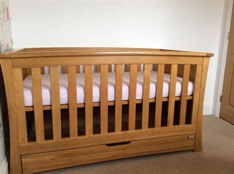 mamas and papas solid oak cot bed drawers changing