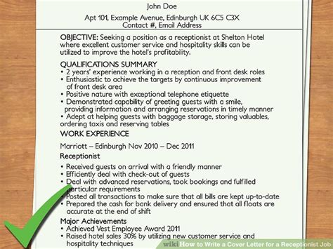 write  cover letter   receptionist job  steps