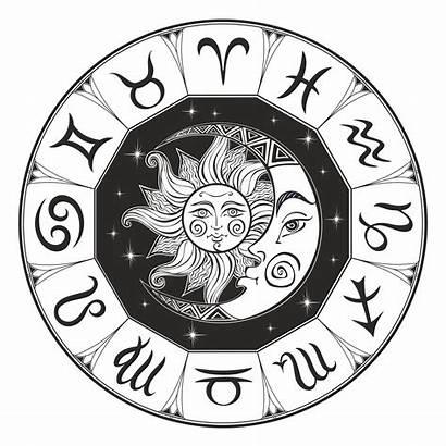 Zodiac Astrology Moon Sun Vector Horoscope Symbol