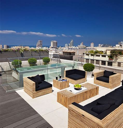 modern outdoor deck with beautiful patio furniture on the