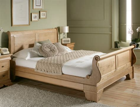Creamy Brown Wooden Bed With Wooden Headboard And White