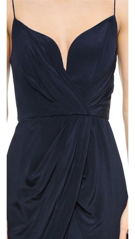 zimmerman silk drape dress lyst zimmermann plunging silk gown in blue