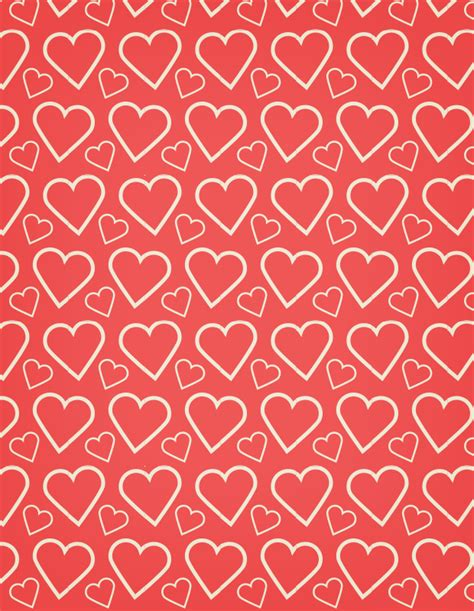 A heart outline free seamless vector pattern, 矢量图片