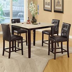 Cream Brown Faux Marble Table Espresso Chairs Counter