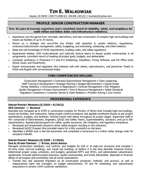Resume Of A Senior Project Manager by Senior Project Format And Requirements Chainimage