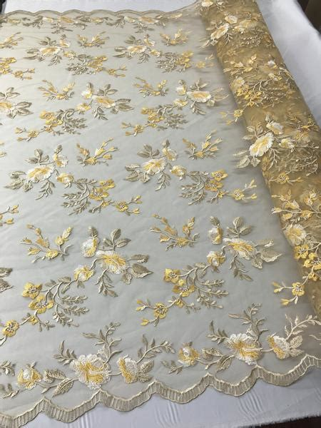 lace fabric floralflower multi color gold embroidered
