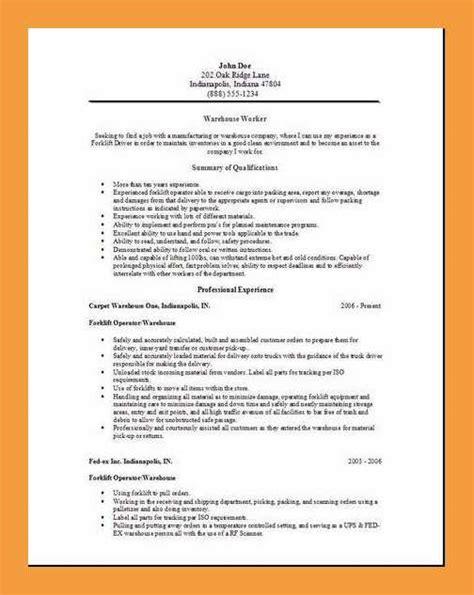 20746 exle of a warehouse resume 9 warehouse resume objective resume pdf