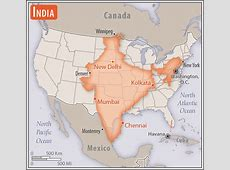 Size of India compared to United States Vivid Maps