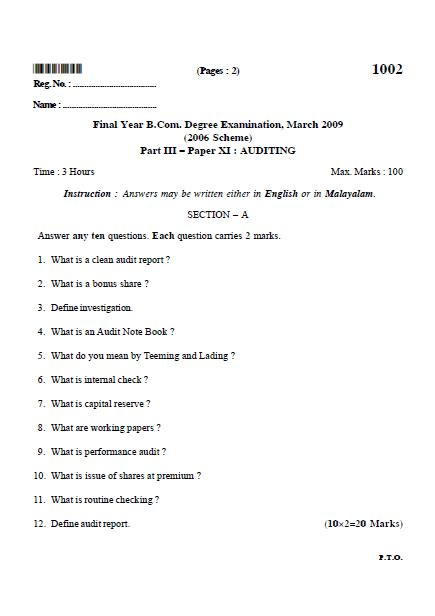 Audit Questions And Answers by Part Iii Paper Xi Auditing B Kerala 2009