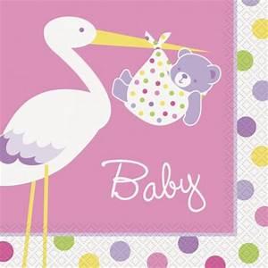 Tovaglioli Cicogna Rosa Festa Baby Shower e Nascita Bimba