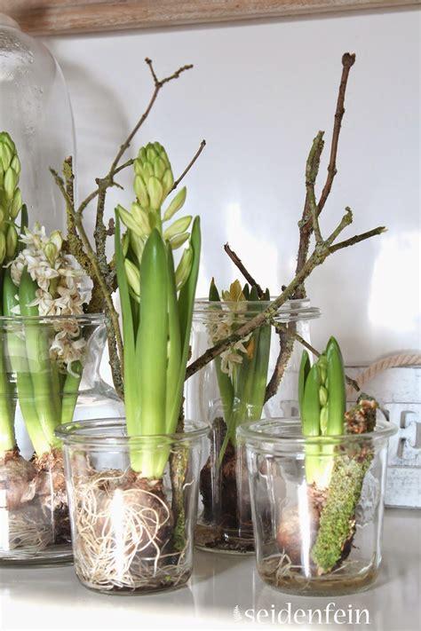 blumen dekorieren im glas hyazinthen tulpen spinnen wolle h 228 keln stricken pflanzengef 228 rbte wolle hyazinten in glas