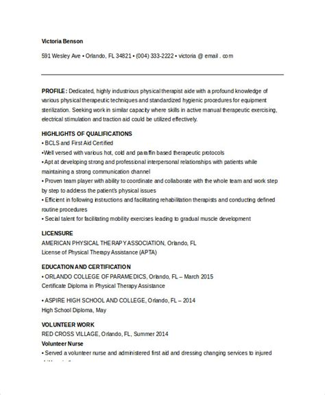 Physical Therapy Resume Sle by Physical Therapist Resume 5 Free Word Pdf Documents