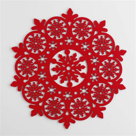 snowflake placemats red felt snowflake placemats set of 4 world market