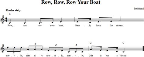 Row Your Boat On Keyboard by Row Row Row Your Boat Treble Clef Sheet For C