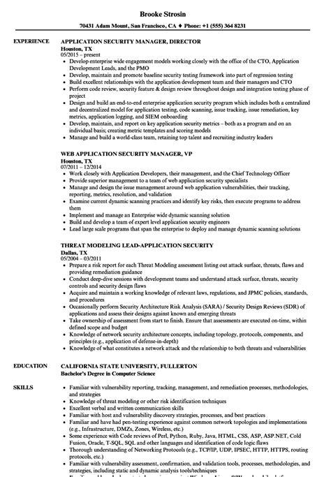 application security resume sles velvet