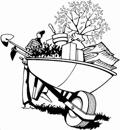 Coloring Gardening Pages Wheelbarrow Gardener Garden Drawing