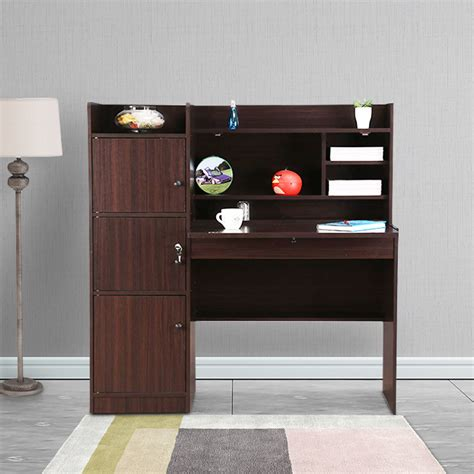 buy vento engineered wood study table  walnut colour