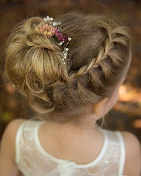 cute fancy flower girl hairstyles   wedding