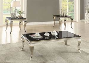 chrome and black glass top occasional table set from With black and chrome coffee table set