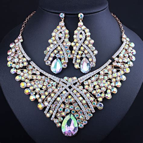 Low Price Resin Crystal Necklace Drop Earrings for Women ...