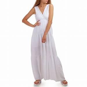 robe longue blanche decollete et jeux de fronces femme pas With longue robe blanche pas cher