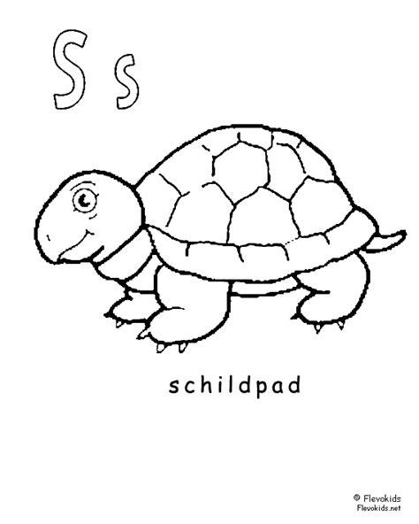 Dierenalfabet: kinder kleurplaten schildpad