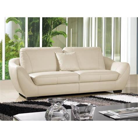 canapé convertible luxe et confort canapé cuir 3 places julietta beige achat vente